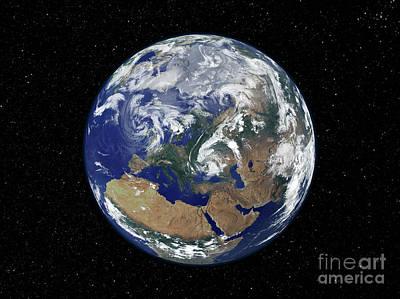 Fully Lit Earth Centered On Europe Poster by Stocktrek Images