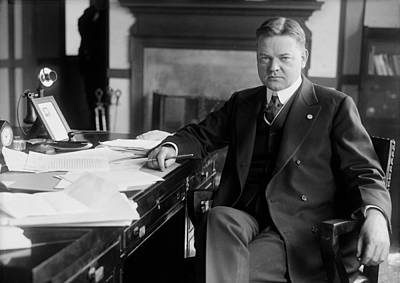 Future President Herbert Hoover As Head Poster by Everett