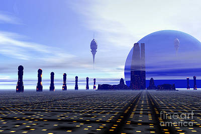 Futuristic City On A Planet At The Edge Poster by Corey Ford