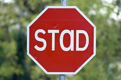 Gaelic Stop Sign Near Doocharry Poster by Rich Reid