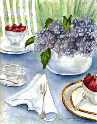 Poster featuring the painting Garden Tea Party by Clara Sue Beym