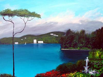 Poster featuring the painting Gardens Of Lake Como by Larry Cirigliano