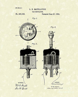 Gas Regulator 1882 Patent Art Poster by Prior Art Design