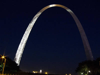 Poster featuring the photograph Gateway Arch At Night by Nancy De Flon