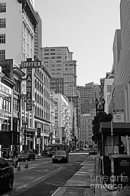 Geary Boulevard San Francisco . Black And White Photography 7d7348 Poster by Wingsdomain Art and Photography