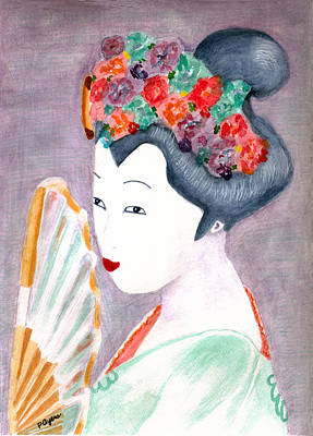 Poster featuring the painting Geisha by Paula Ayers