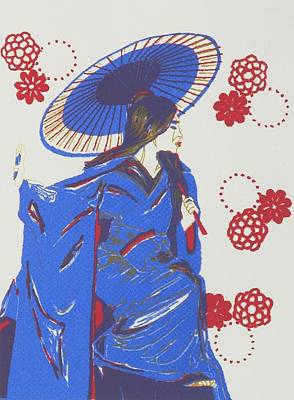 Geisha With Gold Poster