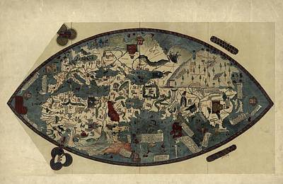 Genoese World Map, 1450 Poster by Library Of Congress, Geography And Map Division