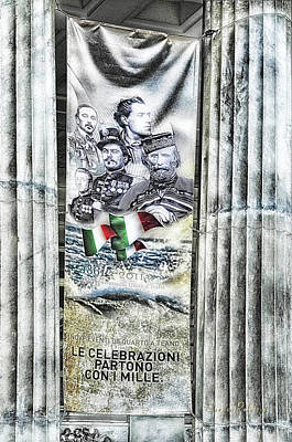 Poster featuring the mixed media Genova 150 Years Of Italy Famous Garibaldi Mameli Founders by Enrico Pelos