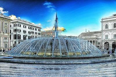 Genova De Ferrari Square Fountain And Buildings Poster