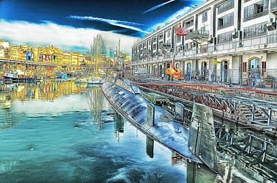 Poster featuring the digital art Genova Nazario Sauro Italian Navy U Boat At The Galata Sea Museum by Enrico Pelos