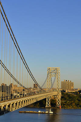 Poster featuring the photograph George Washington Bridge And Boat by Zawhaus Photography
