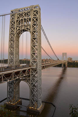 Poster featuring the photograph George Washington Bridge At Sunset by Zawhaus Photography