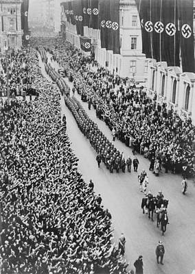 German Crowds Saluting During A Berlin Poster