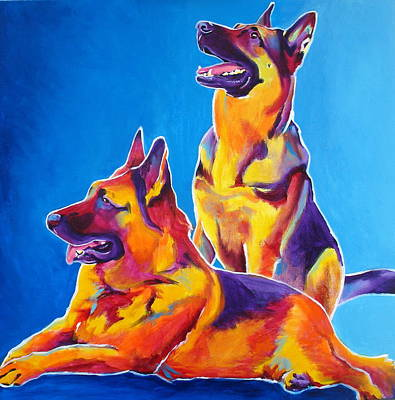 German Shepherd - Eiko And Erin Poster by Alicia VanNoy Call