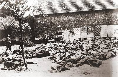 German Soldiers Standing By Corpses Poster