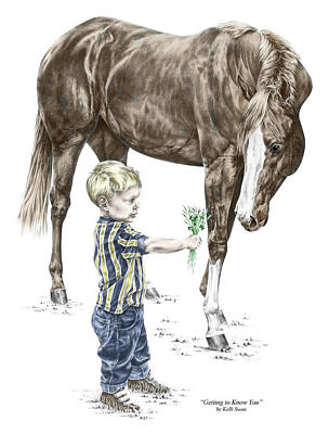 Poster featuring the drawing Getting To Know You - Boy And Horse Print Color Tinted by Kelli Swan
