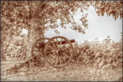 Gettysburg Battlefield Cannon Seminary Ridge Sepia Poster by Randy Steele
