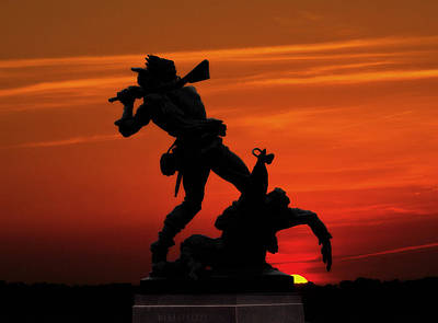 Gettysburg Battlefield Mississippi Memorial Sunset Poster by Randy Steele