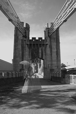 Ghost Bridge Black And White Poster