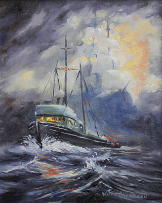 Poster featuring the painting Ghosts Of The Seas by Kurt Jacobson