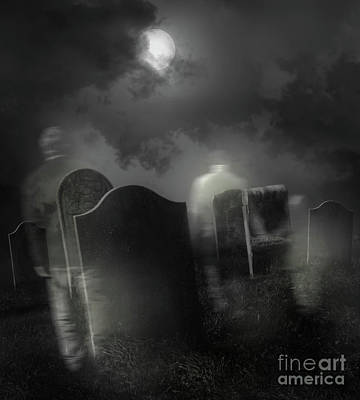 Ghosts Wandering In Old Cemetery  Poster