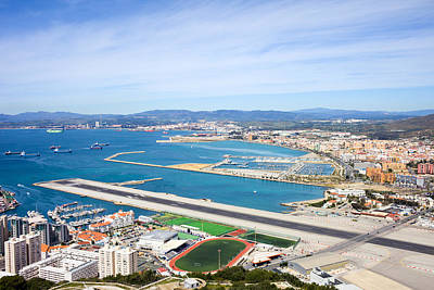 Gibraltar Runway And La Linea Cityscape Poster