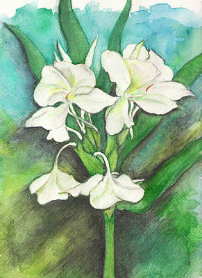 Poster featuring the painting Ginger Lilies by Carla Parris