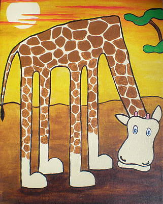 Poster featuring the painting Giraffe by Sheep McTavish