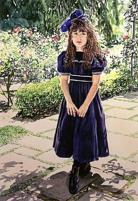 Girl At The Huntington Poster by David Lloyd Glover