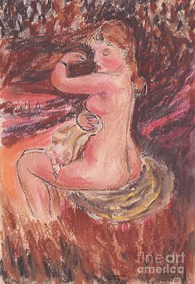 Girl Bathing - After Renoir Poster