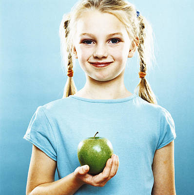Girl Holding An Apple Poster by Kevin Curtis