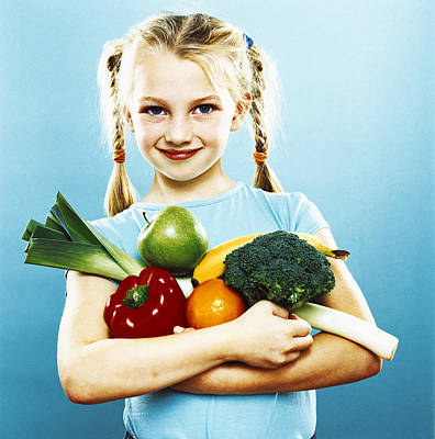 Girl Holding Fruit And Vegetables Poster by Kevin Curtis