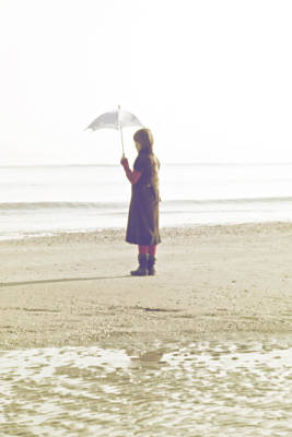 Girl On The Beach With Umbrella Poster