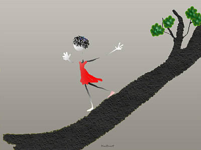 Poster featuring the digital art Girl Running Down A Tree by Asok Mukhopadhyay