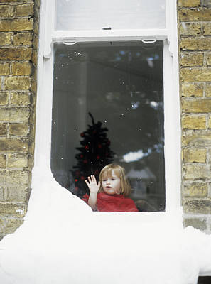 Girl Staring Out Of Snowy Window Poster by Ian Boddy