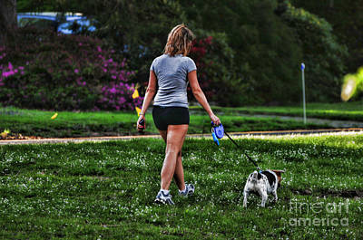 Girl Walking Dog Poster by Paul Ward