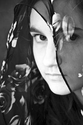 Girl With A Rose Veil 3 Bw Poster by Angelina Vick