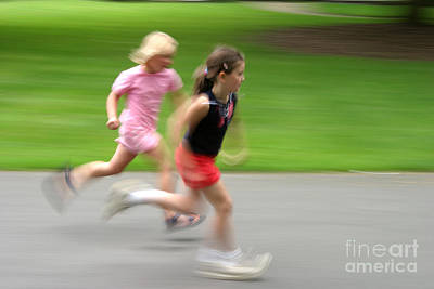 Girls Running Poster by Ted Kinsman