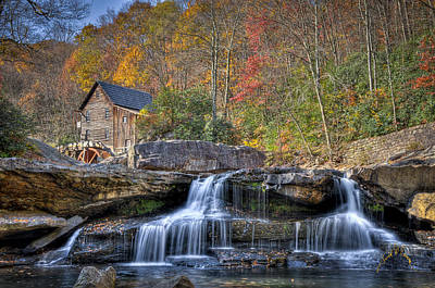 Glade Creek Grist Mill At Babcock Poster by Williams-Cairns Photography LLC