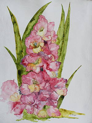 Poster featuring the painting Gladiolas by Patsy Sharpe