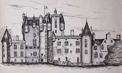Poster featuring the drawing Glamis Castle by Sheep McTavish