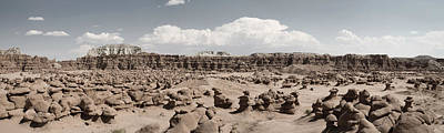 Poster featuring the photograph Goblin Valley Desert Large Panorama by Mike Irwin
