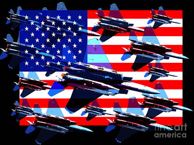 God Bless America Land Of The Free 2 Poster by Wingsdomain Art and Photography