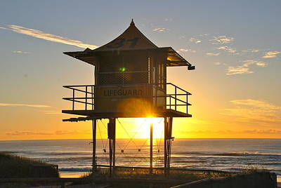 Poster featuring the photograph Gold Coast Life Guard Tower by Eric Tressler