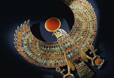 Gold Pendant Of Hawk With Semiprecious Poster