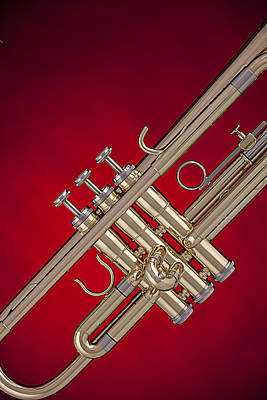 Gold Trumpet Isolated On Red Poster