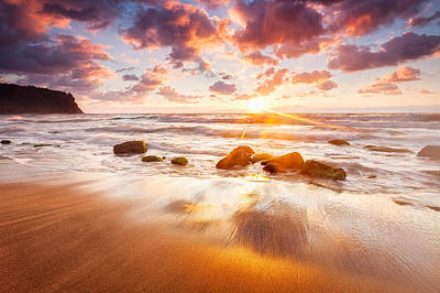 Golden Beach Poster by Evgeni Dinev