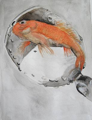 Golden Fish - One Wish Poster by Ema Dolinar Lovsin