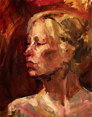Golden Hair Portrait Of Woman Head In Crimson Yellow Hardworking Fieldworker Mother Whos Thoughtful Poster by M Zimmerman MendyZ
